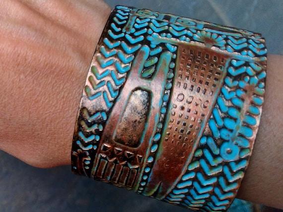 Tribal art polymer clay cuff bracelet