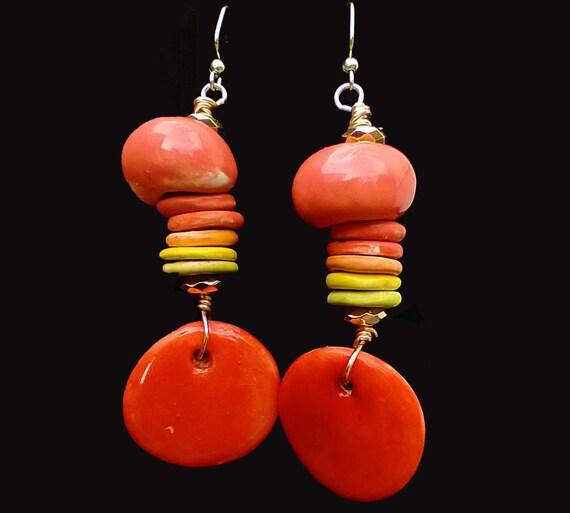 One-of-a-kind Boho ceramic  earrings
