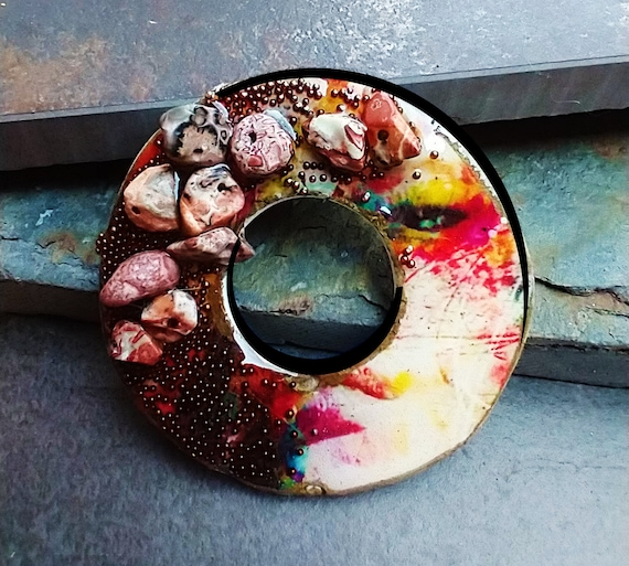 Polymer clay and mixed media pendant
