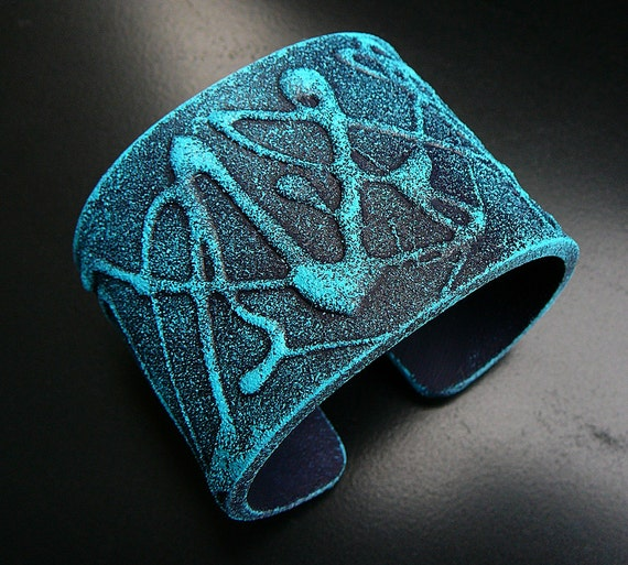 Turquoise and navy blue frosted polymer clay cuff bracelet