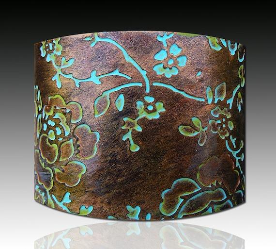 Rosebud polymer clay cuff