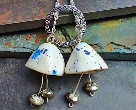 One-of-a-kind ceramic bell tassel necklace