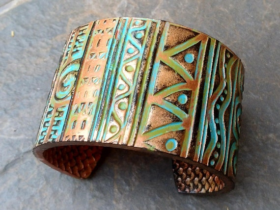 Tribal art copper and bronze with patina polymer clay cuff bracelet