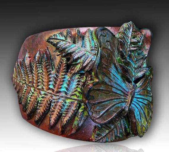 Adi/'s butterflies polymer clay cuff bracelet
