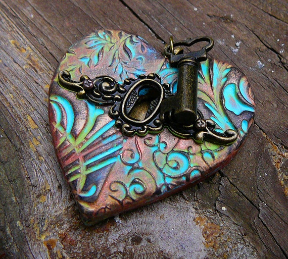 SALE The key to my heart pendant with patina