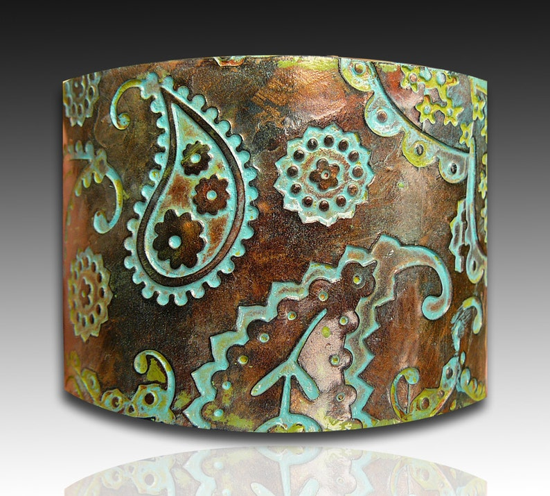 Perfectly paisley copper and patina polymer clay cuff bracelet image 1