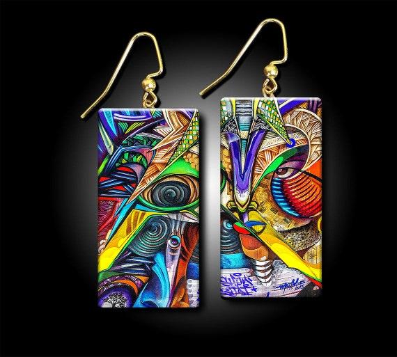 Graffiti art polymer clay earrings