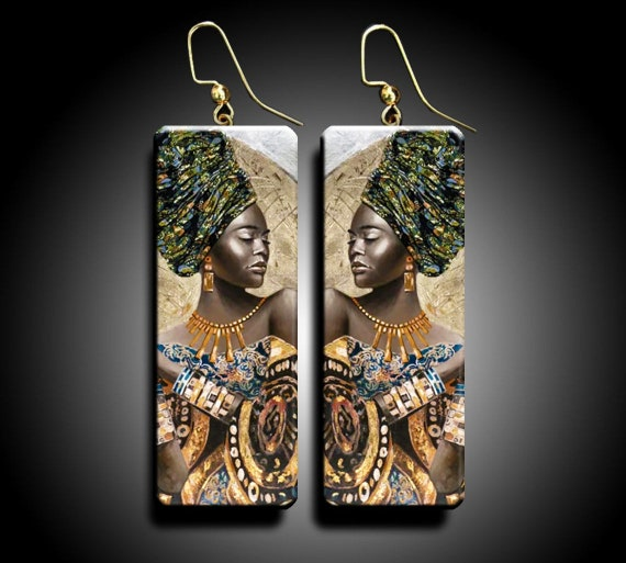 African goddess polymer clay earrings