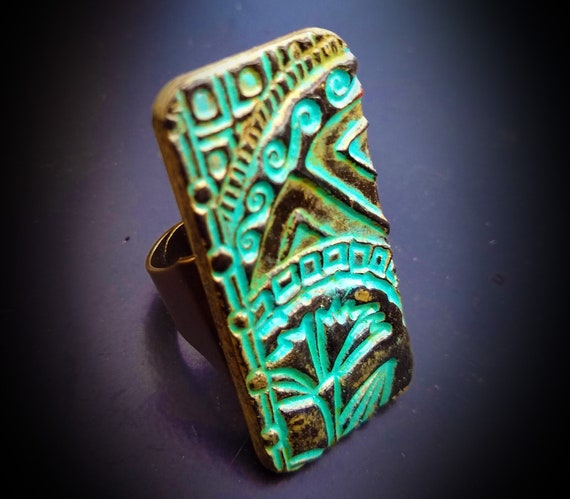 Ancient Chinese art polymer clay ring