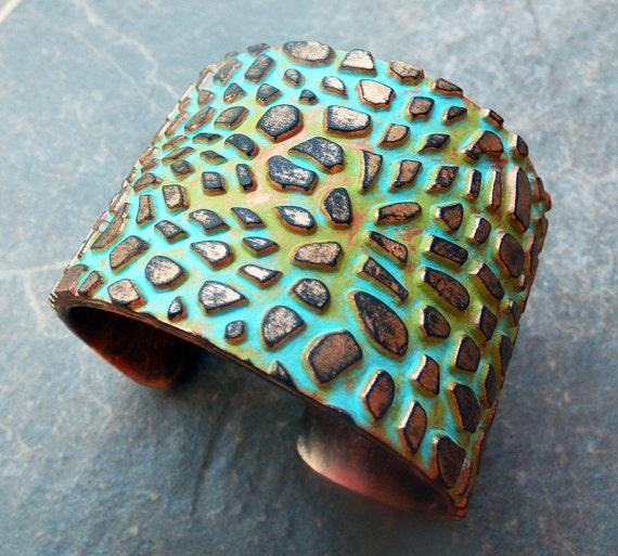 The cobblestone road polymer clay cuff bracelet
