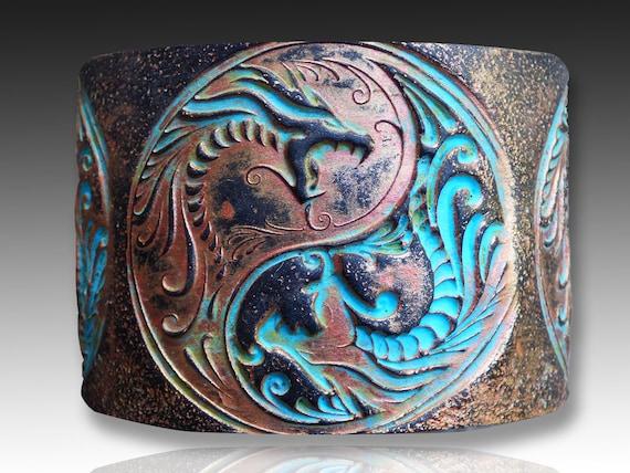 Yin Yang Dragons polymer clay cuff bracelet