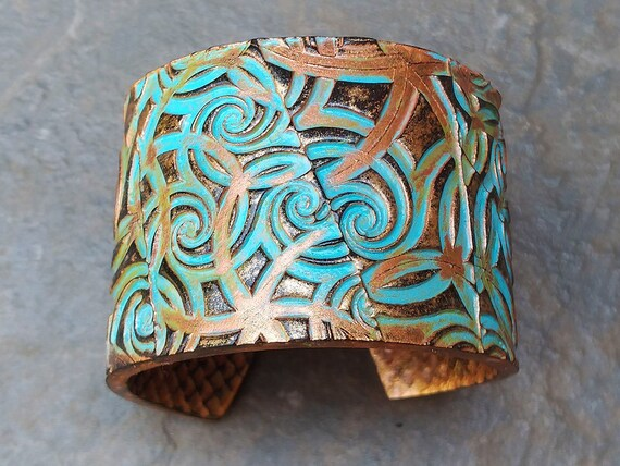 Spinning copper and bronze with patina polymer clay cuff bracelet