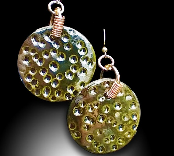 One-of-a-kind minimalist ceramic  earrings