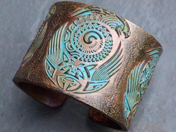 Moko polymer clay cuff bracelet