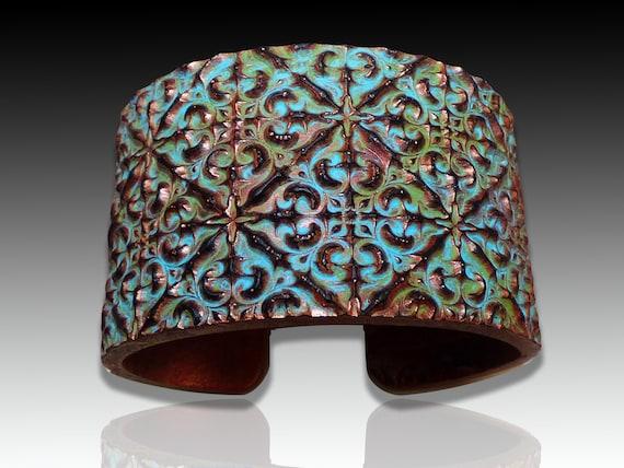 Spanish tile polymer clay bracelet cuff