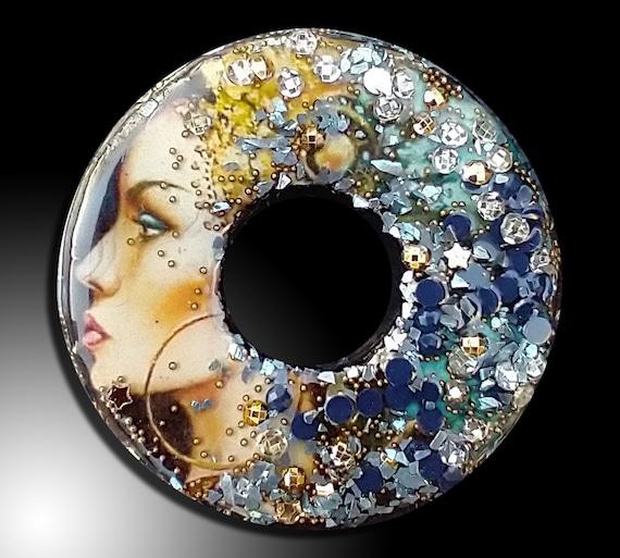 Goddess mixed media and polymer clay pendant