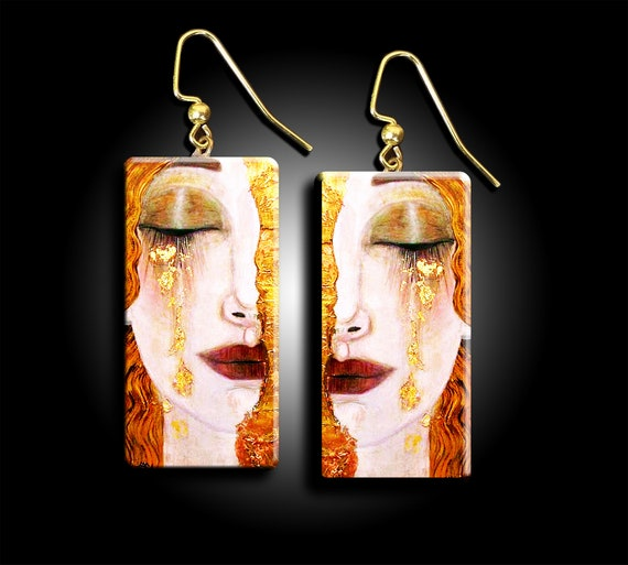 Klimt's Freya's tears polymer clay earrings