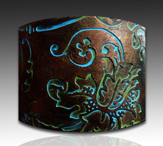 Handmade copper and bronze with patina polymer clay cuff bracelet