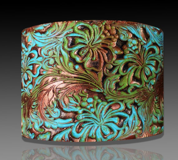 Beautiful Hibiscus copper and patina polymer clay cuff bracelet