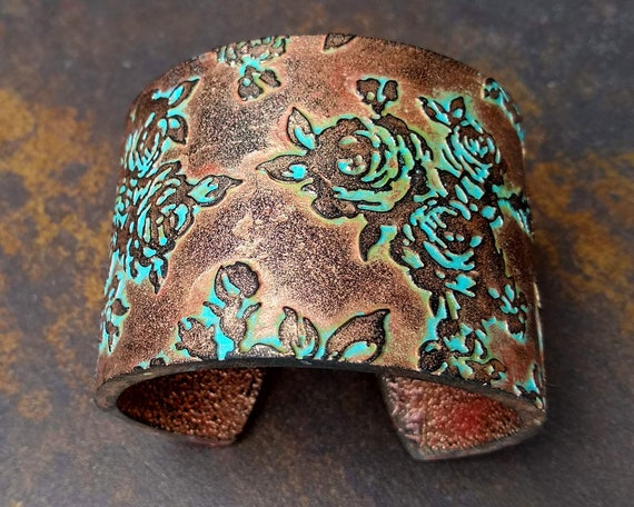 Roses polymer clay cuff bracelet