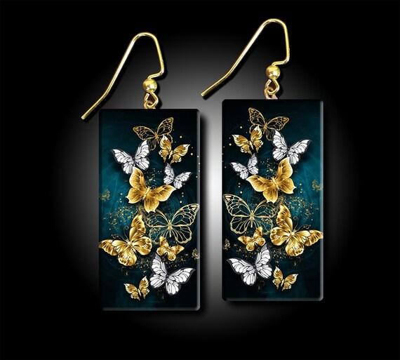 Dusk butterflies polymer clay earrings