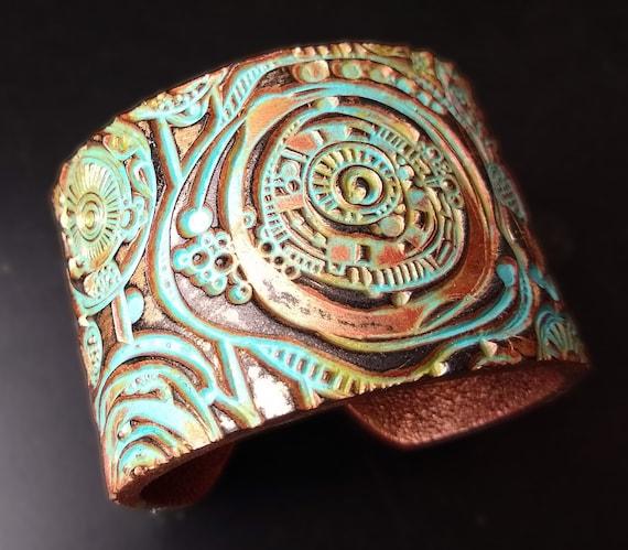 Whimsical art polymer clay cuff bracelet