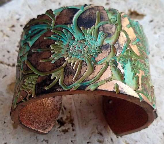 Poppies meadow distressed polymer clay cuff bracelet