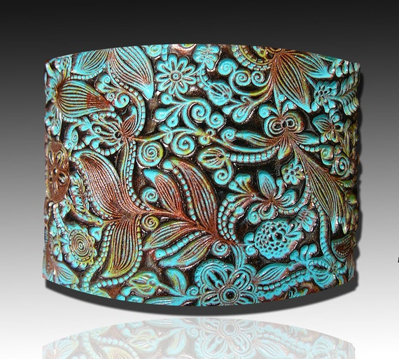 Flower doodle polymer clay cuff bracelet