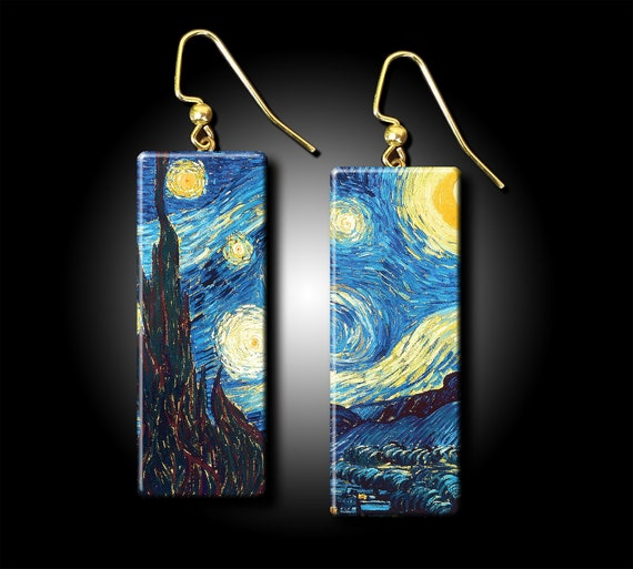 Starry night polymer clay earrings