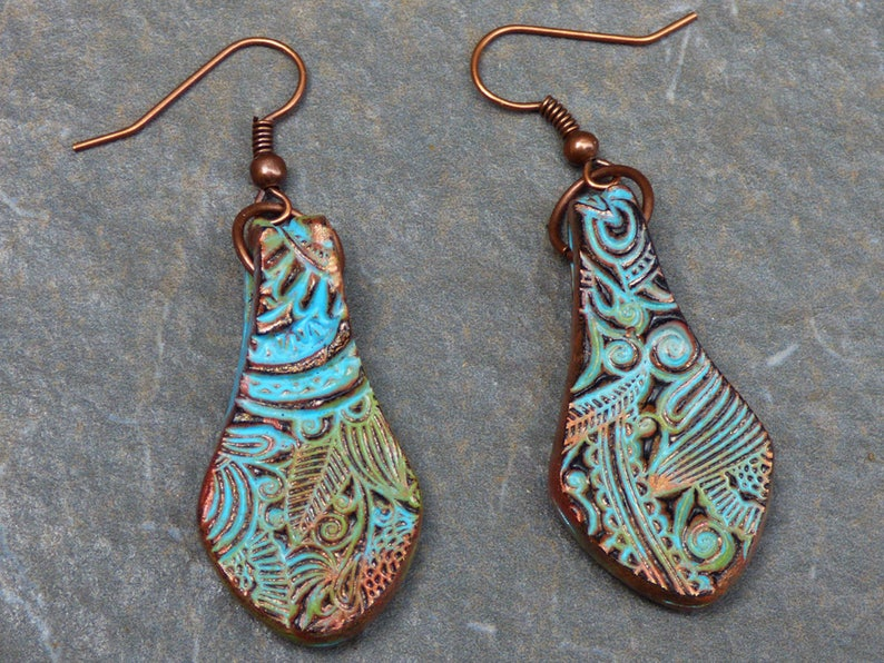 a8ce8801a Copper and patina doodle polymer clay earrings | Etsy