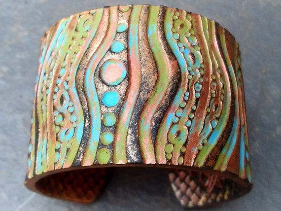 Tribal art polymer clay cuff bracelet