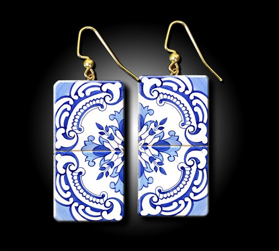 Portuguese tile polymer clay earrings