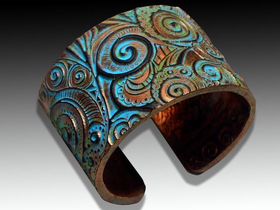 Swirls copper and patina polymer clay bracelet cuff