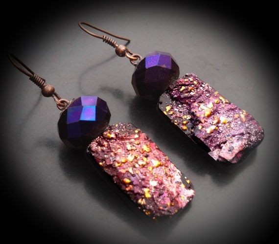 One-of-a-kind organic distressed polymer clay earrings