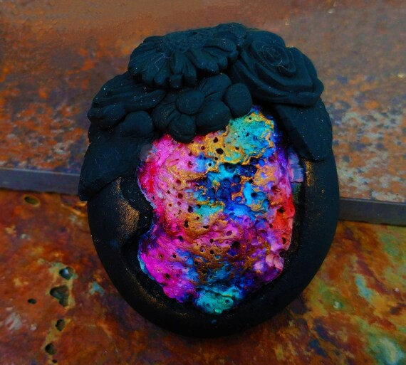 One-of-a-kind Black Sea polymer clay pendant