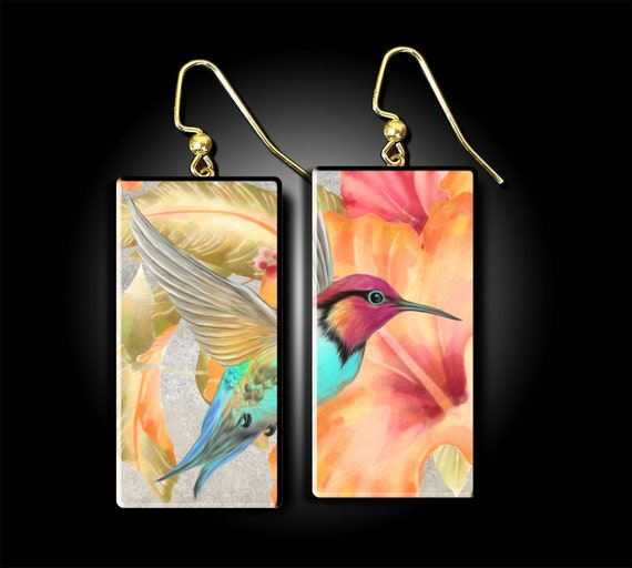 Humming bird polymer clay earrings