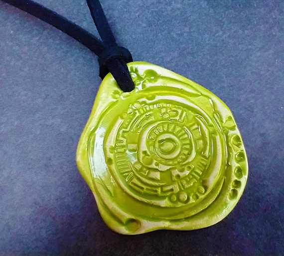 Green ceramic pendant