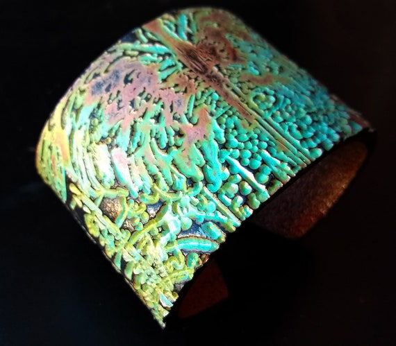 Fantasy copper and patina polymer clay cuff bracelet