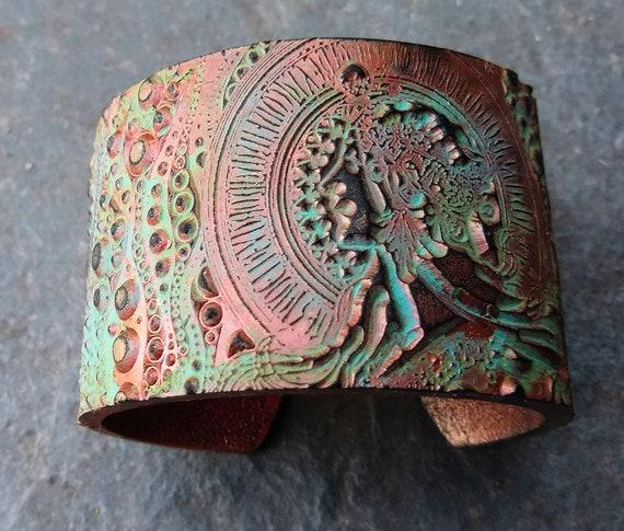 Alphonse Mucha polymer clay cuff bracelet