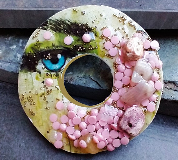 SALE One-of-a-kind donut polymer clay and mixed media pendant