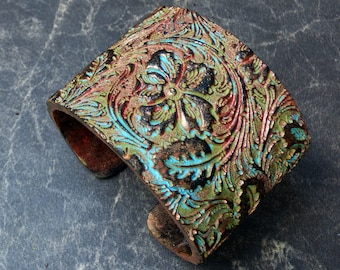 Yesterday is gone copper and patina polymer clay cuff bracelet