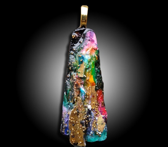 One-of-a-kind organic distressed polymer clay pendant