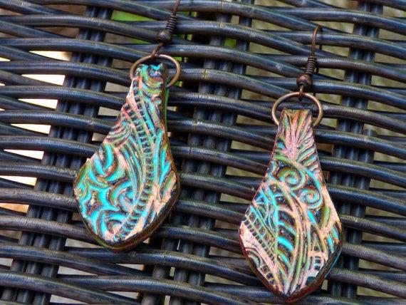 Zentangle polymer clay earrings
