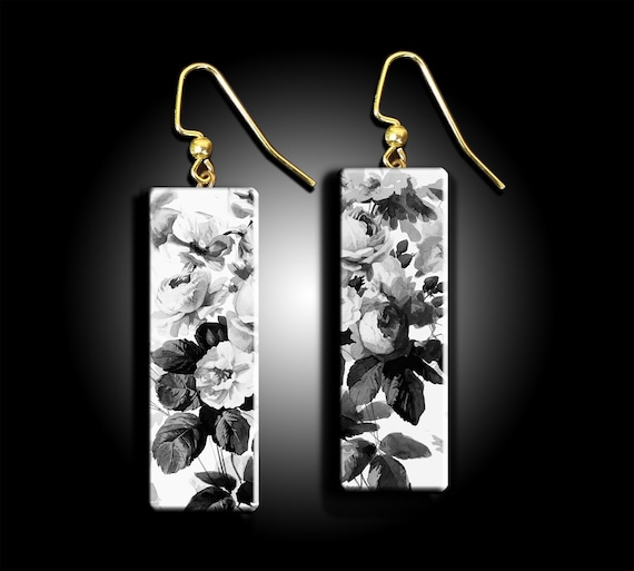 Black and white roses polymer clay earrings