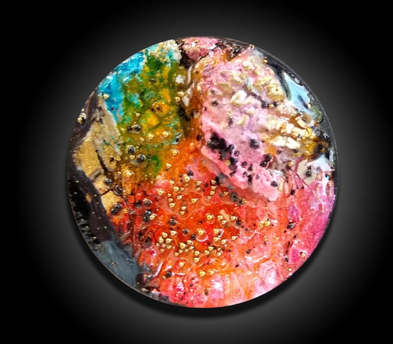 One-of-a-kind mixed media cabochon