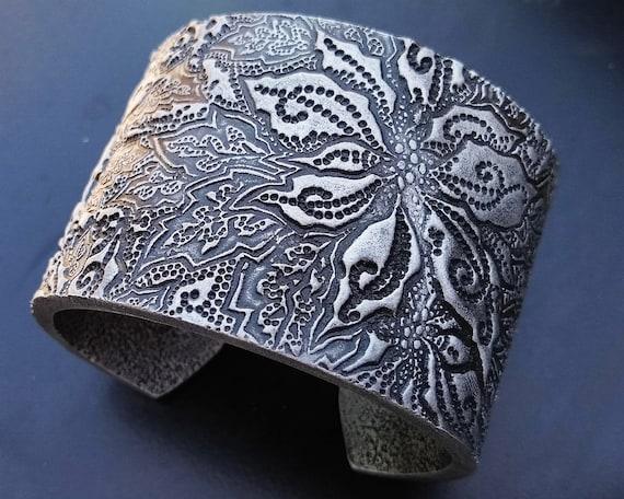 Silver leaf dreamland polymer clay cuff
