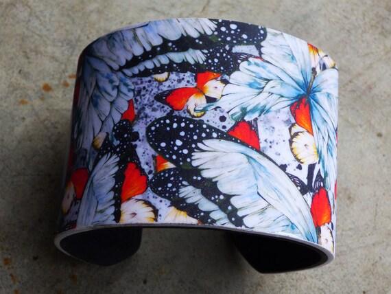 Butterflies polymer clay cuff