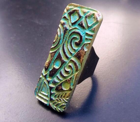 Tribal art polymer clay ring