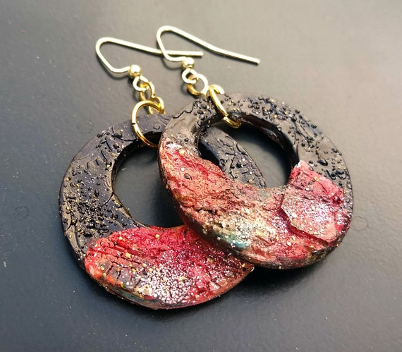 Distressed one-of-a-kind polymer clay hoops