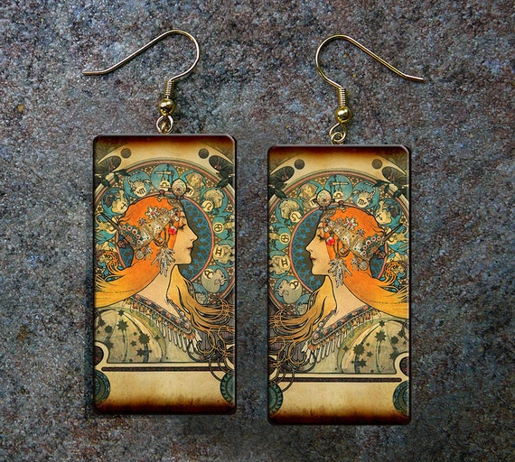 Art Nouveau polymer clay earrings